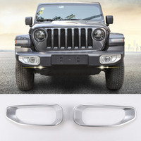 ABS Front Fog Light Trim Cover Decoration Silver For Jeep Wr...