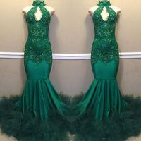 2019 elegante vestidos de baile verde escuro vestidos de fechadura pescoço sem costas longos vestidos de noite vestidos vestidos feitos sob encomenda vestidos formais vestidos formais