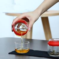 chá curso vidro conjunto de saco de crack portátil levar um pote de dois copos de kung fu chá transparente soprando arte copo elegante copo bolha bule