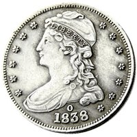 US 1838O Capped Bust Half Dollar Silver Plated Copy Coin Brass Craft Ornaments Hem Dekoration Tillbehör