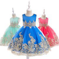 INS Flower Girls abito da sposa in pizzo oro garza bambini ricamo principessa Ball Gown palazzo in stile bambini Archi cintura vestito da festa Y1105