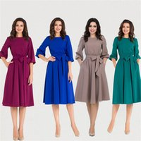 Women Vintage Solid Color Dresses Puff Sleeve A- Line Dress F...