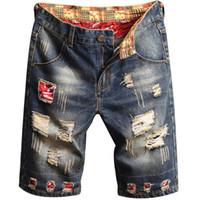 2020 homens jeans shorts azul cores patch patch impresso calças lavadas forma designer curto rasgado para homens