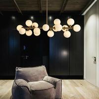 Moden sanat kolye ışık altın / siyah sihirli fasulye led ışık yemek odası dükkanı led striplight cam kolye lamba armatürleri