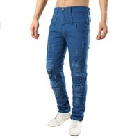 Mens Hole Casual Jeans Trousers Fake Double Pants Personalit...