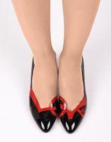 """여성 신발 빨간색 바닥 평면, 고급스러운 디자인 """"사랑""""반짝 블랙 뾰족한 발가락 발레 플랫 샌들 여름 봄 플랫 키 큰 여자 발바닥을 빨간색"""