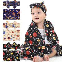 Las orejas del bebé recién nacido Envolver Mantas de conejito vendas 2 regalos jugadas de empañar Foto Wrap punto de flores de tela floral Nursery Bedding D3510