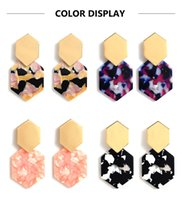 Resina Acrílica Dangle Brincos Hexagonal Diamante Metal Geométrico Para As Mulheres Boho Jóias Irmã Amigos Mãe