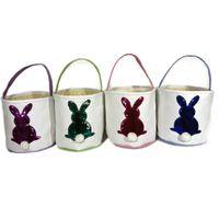 Osterhase Heckkorb Sequined Kaninchen gestickte Handtaschen-Geldbeutel-Kind-Süßigkeit Eggs Geschenke Handtaschen-Speicher-Beutel-Segeltuch DIY Bucket Tote A122102