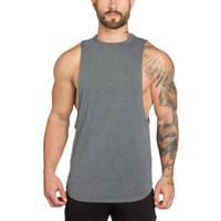 Muscleguys Bodybuilding Vestuário Mens Regatas A camisa dos homens da aptidão Singlets camisa sem mangas Cotton Sólidos Muscle Vest Undershir