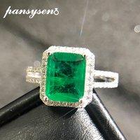 Pansysen luxo qualidade superior esmeralda anéis para mulheres anel de cocktail de noivado de casamento 100% 925 esterlina prata fina jóias presente