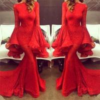 댄스 파티 드레스 파티 드레스 vestido 롱고 드 페스타 2018 기절 2019 새 빨간 레이스 공주 이브닝 드레스 긴 소매 스윕 기차