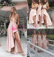 2019 Pale Pink Spaghetti Druhna Suknie Linia Side Split Hi Niska Maid of Honor Wedding Goście Suknia dla Ogrodów Wedding Wear Made Custom