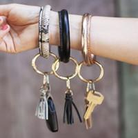caoutchouc cuir ins gros-mode design mignon joli diamant étincelant bracelet en anneau clé pour femme 30 couleurs