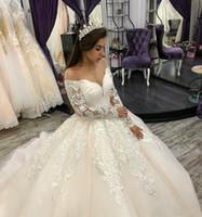 Plus Size Vintage Prinzessin Spitze Appliques Brautkleider Sheer Hals Langarm Brautkleider Lace Up Brautkleid Vestido de Novia