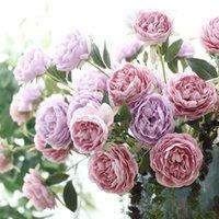 Nouveau 3 têtes Artificielle Pivoine Fleur Soie Flores Fleur Artificielle Pour La Décoration De Mariage Pivoines Printemps Décoration de La Maison Faux Fleur
