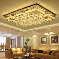 Neueste Pendelleuchte Kronleuchter Moderne Luxus Quadrat Glanz K9 Kristall Led Kronleuchter Fernbedienung Dimmbare Luminaria Wohnzimmer Lamparas