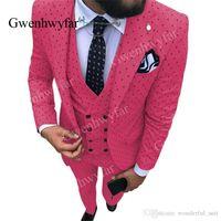 Gwenhwyfar 2019 Automne Nouveau point Hommes Costume Fuchsia 3 Pièces Notch Lapel Smokings Groomsmen costumes pour le mariage (Blazer + veste + pantalon)