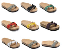 hotsell Genuine Leather Slippers women Flat Sandals mens Sho...