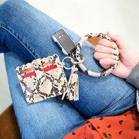 여성 지갑 패션 액세서리 미니 클러치 ID 지갑 열쇠 고리 팔찌 뱀 표범 PU 가죽 열쇠 고리 팔찌