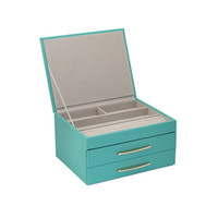 Caixa de armazenamento de jóias Multi-funcional para acessórios de armazenamento de três camadas de grande capacidade Casos PU Jewel criativa do presente simples Coreia do estilo