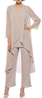 New Arrival Chiffon Mother Of The Bride Pants Suit Long Slee...