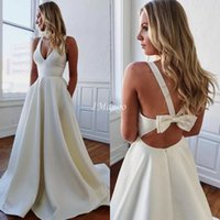 Elegant Satin A- Line Wedding Dresses V- Neck Corset Back Coun...