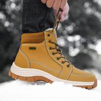 Botas masculinas de inverno antiderrapante wearable ao ar livre grande ferramentas grandes tamanho grande 48 sapatos mais veludo retro tendência masculina botas de martin 2019