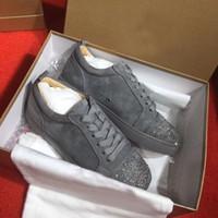 Moda Luxo Designer Júnior Sneaker Vermelho Sapatos Masculinos Flat com Strass, Couro, Spikes Estilo Trainer Casal Calçado Passeio