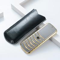 Entriegelte V03 Bar Luxus Bluetooth Dial Metallgehäuse Leder ältere Dual-SIM-Karten-Handy-Super-Fashion Stahl dünnen Handys