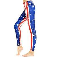 Yoga pantalones europeos y americanos bandera americana Digital Print pantalones de yoga ropa polainas de las mujeres