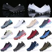 Nike air vapormax 2019 2018 vapormax Flyknit 2.0 2018 الاحذية 2019 الرجال 2.0 3.0 زائد أسود أبيض الشاطئ الأزرق الجنوب الأزرق الغضب أزياء هوت لكمة إمرأة رياضة تنفس مصمم ضة
