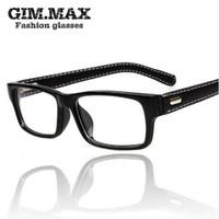 Atacado Mincl-/ Gimmax moldura quadrada óculos óculos de couro preto do vintage frampia óculos de vidro liso