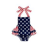 Neugeborene Baby-Kleidung Amerikanische Flagge Independence National Day USA 4. Juli Stern-Streifen gedruckt Sling Strampler Cotton Ruffle Jumpsuit