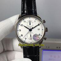 YLF Melhor versão Portugieser Chronograph Clássico 390302 Cal.89361 automáticas 28800 Vph Branco Dial Mens Watch Sapphire couro Desporto Relógios
