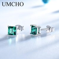 UMCHO Solid Real 925 Sterling Silver Jewelry Created Emerald...