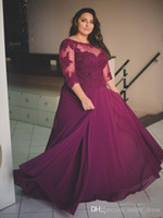 Purple Plus Size Prom Dresses 3 4 Long Sleeves A Line Jewel ...