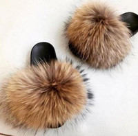 Fox Hair Slippers Women Fur Home Fluffy Sliders Peluche Furry Summer Flats Sweet Ladies Shoes Large Size 45 Vendita calda Cute Pantufas T8190617