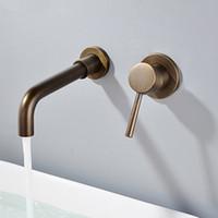 Bacino Rubinetti Parete in ottone bagno lavandino lavabo Tap Faucet Chrome In-parete del rubinetto maniglia a doppia Antico Bagno