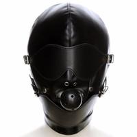 Pu Deri Fetiş Ağız Gag Koşum Başlık Hood Göz Maskesi Başkanı Kapak Esaret Kısıtlama Yetişkin Kostüm Sm Seks Oyunu Oyuncak Için Çift Y190716