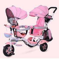 4 en 1 Twin Babby poussette double Tricycle enfant Selle de vélo de bébé bébé enfant TrolleyTravel parapluie Carriage1-6Y
