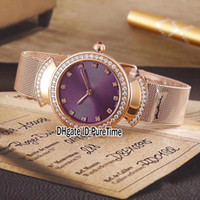 New Fashion Lvcea Rose Gold Diamond Bezel Purple Dial Diamon...