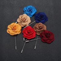 Accesorios Hombre caliente flor de la solapa de la mujer de la camelia hecho a mano Ojal palillo de broche de hombres en 22 colores