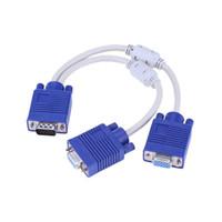 Cable VGA dual Splitter 2 Monitor de 15 pines dos puertos VGA macho a VGA hembra adaptador de soporte 1920 * 1080 de resolución