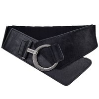 Fashion Style blackred solide PU Faux Fur Boucle Bague Femme en vrac confortable Ceintures larges ceinture pour les femmes