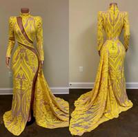 2020 Желтый Сексуальный Вечерние Платья Высокая Шея Кружево Аппликация Блестками Длинные Русалка Пром Платья На Заказ Вечерние Платья Партии