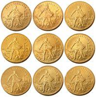1923-1982 9 adet farklı tarihler Sovyet Rus 1 Chervonetz 10 Ruble CCCP SSCB Lettered Kenar Altın Kaplama Rusya paralar KOPYALARSANIZ