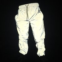 amante pantalones de chándal reflectantes brillan en la oscuridad pantalones de chándal pantalones de chándal con cordones brillo fitness ejercicio pantalones hombres WHK-552