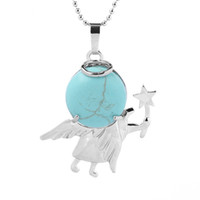 qimoshi Fairy Rod Little Angel Collana pendente pietra naturale Teen femmina allegoria guarigione Guardiano Collana regalo 12pcs