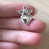 DIY Jóias charme antigo tom de prata Bohemian ambos os lados do anjo charme antigo tom de prata do anjo Pingente encanto para pulseira Colar Brincos